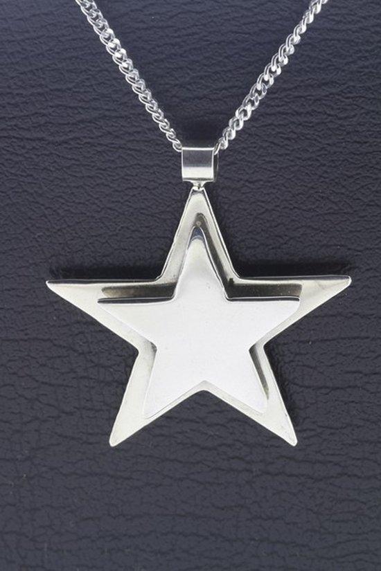 Zilveren Dubbele ster ketting hanger