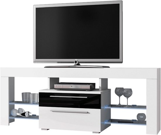 Tv Meubel Zwart Mat.Bol Com Tv Meubel Tv Dressoir Navia High Design Led Verlichting