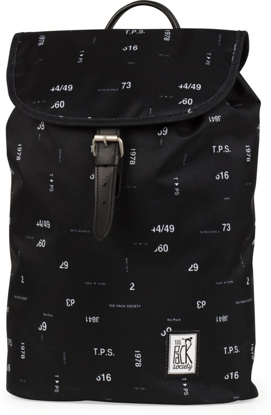 The Pack Society Small Rugzak - Black Numbers Allover