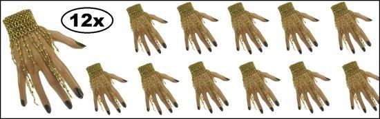 12x Armband goud met steentjes