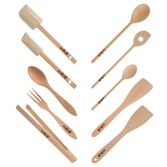 Uulki Ecologische 10-delige Set Houten Keukenhulpen uit Europees Beukenhout - Kooklepel, Spatel, Pannenlikker, BBQ tang, Slabestek