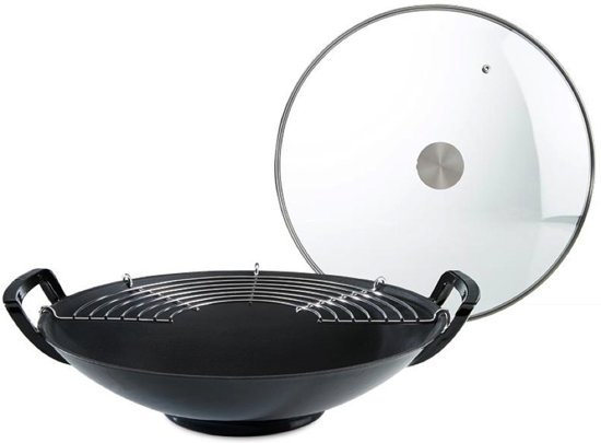 Cyril lignac ronde wok 36cm gietijzer zwart met for Cuisinier wok