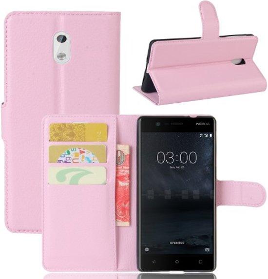 Nokia 3 Hoesje Lichtroze met opbergvakjes in Veldwezelt