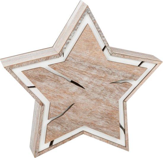 small foot houten kerstster met verlichting 24 cm