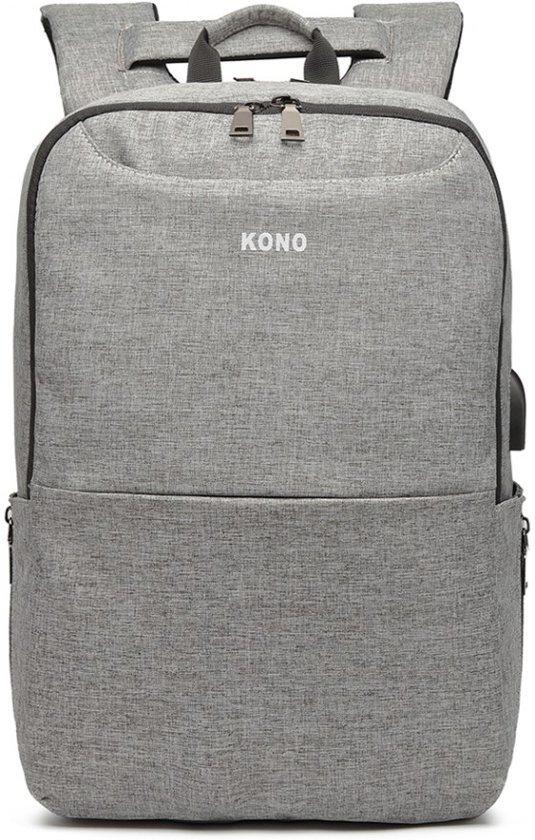 Rugzak - Anti Diefstal - Inclusief Usb Oplaadstation - Laptop Tas - Anti Theft - 15.6 inch - Business Tas - Schooltas - Grijs - Kono (E6868 GY)