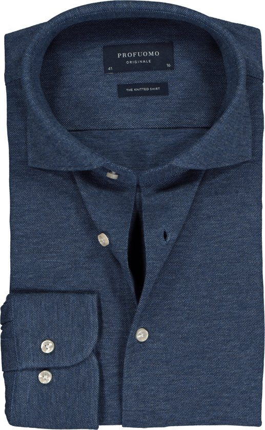 Profuomo Overhemd.Bol Com Profuomo Overhemd Knitted Shirt Indigo Blue 42 Maat 42