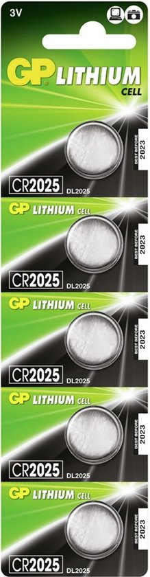 GP CR2025 Lithium 3V batterij 5-pack