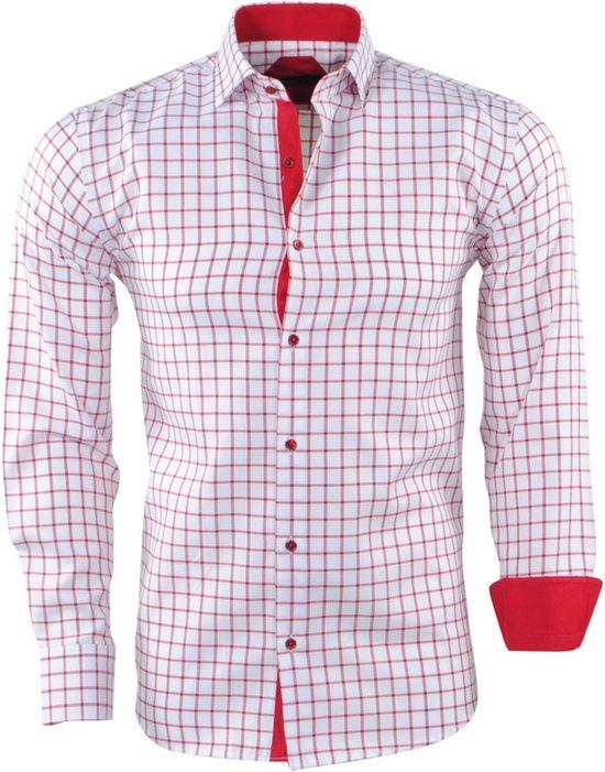 Heren Overhemd Wit.Bol Com Pradz Heren Overhemd Geblokt Rood Wit