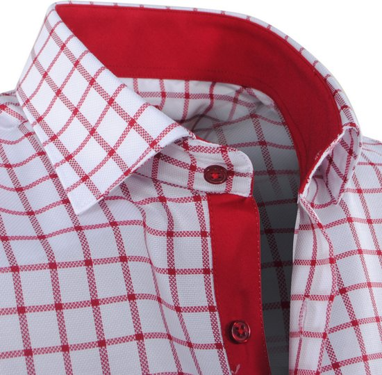 Rood Geblokt Overhemd Pradz Wit Heren wUTxBaqv