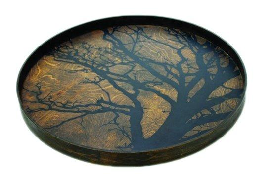 Notre Monde plateau rond 61cm Black Tree Driftwood