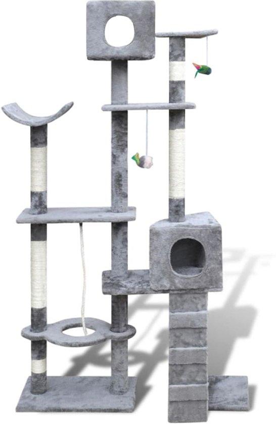 Krabpaal Tommie - 175 cm 2 huisjes - Grijs