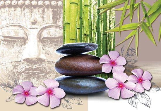 Fotobehang Flowers With Zen Stones | XXXL - 416cm x 254cm | 130g/m2 Vlies