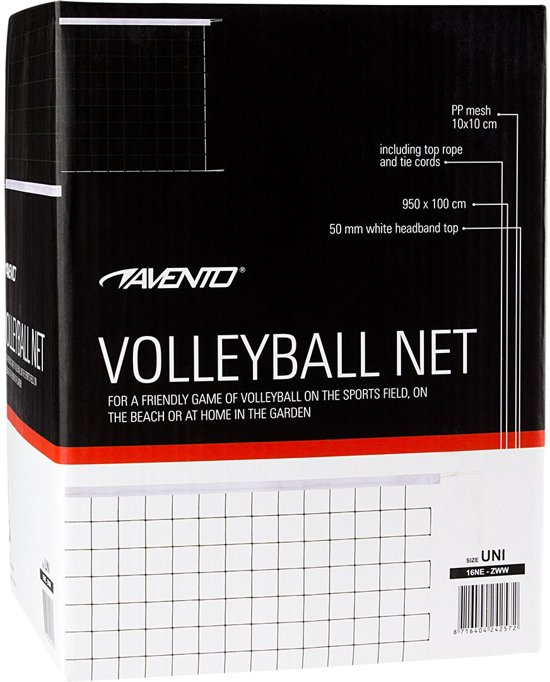 Volleybalnet - 9.5 x 1 meter - Zwart/Wit
