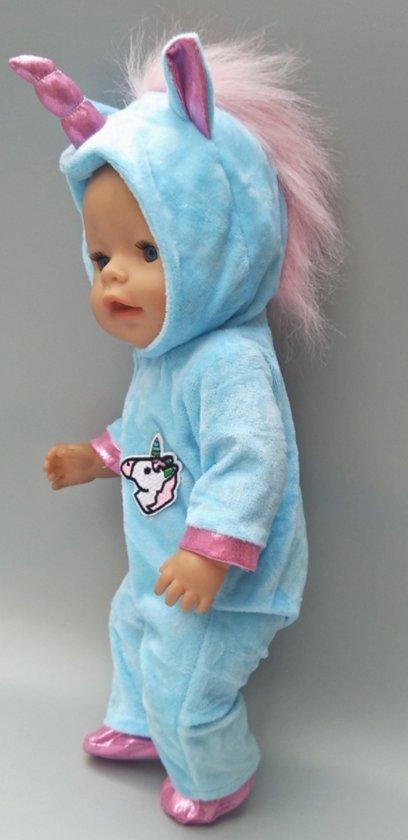 Poppenkleertjes | Geschikt voor Baby Born | Eenhoorn onesie met schoentjes| Blauw en roze | Met capuchon | Pyjama