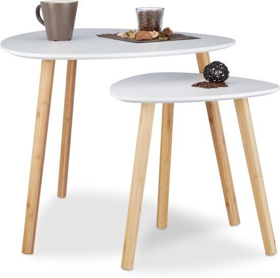Bijzettafeltje Wit Met Hout.Relaxdays Bijzettafel Set Van 2 Scandinavisch Design Wit Hout 60x40 Cm En 40x40 Cm