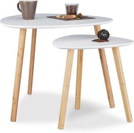 Bijzettafel Bol Com.Relaxdays Bijzettafel Set Van 2 Scandinavisch Design Wit Hout 60x40 Cm En 40x40 Cm