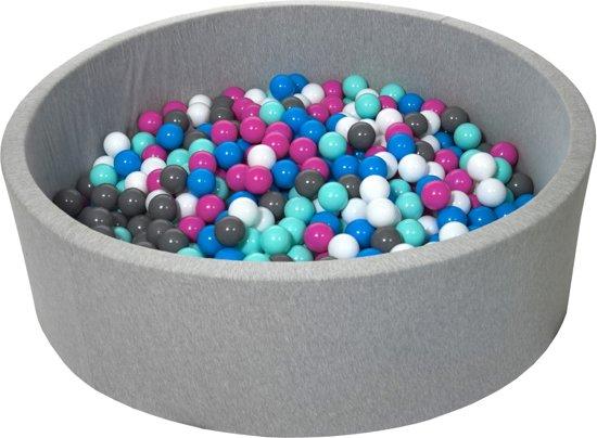 Zachte Jersey baby kinderen Ballenbak met 600 ballen, diameter 125 cm - wit, blauw, roze, grijs, turkoois