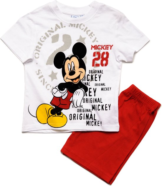 b1f58113c4b bol.com   Mickey Mouse Jongens Shortama - wit;rood - Maat 116