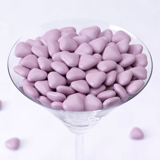 Neviti Mini hart dragees chocolade lila 1 kg Valentinaa