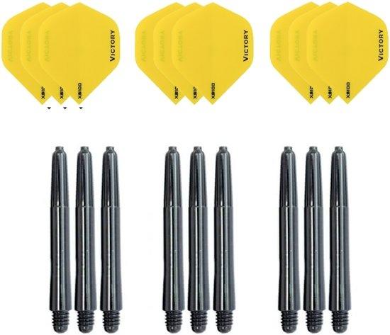 3 sets (9 stuks) Super Sterke Gele Poly XS100 - flights - en 3 sets (9 stuks)  zwarte - shafts