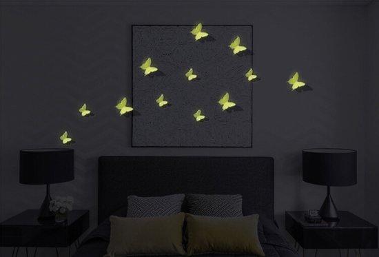 Glow In The Dark 3D Vlinders Muurstickers - 12 Stuks - Livhtgevende ...