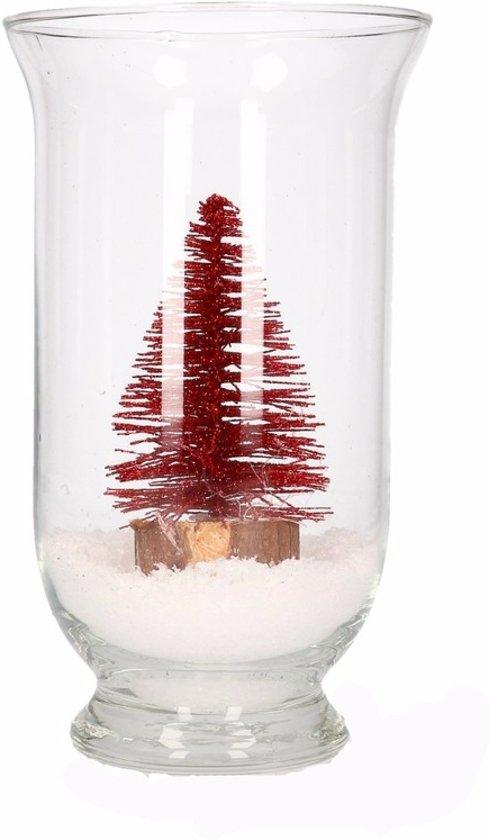 Kerst woondecoratie vaas met glitter boompje rood