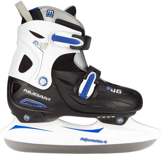 Nijdam Junior IJshockeyschaats Junior Verstelbaar - Hardboot - Zwart/Zilver/Blauw - 34-37
