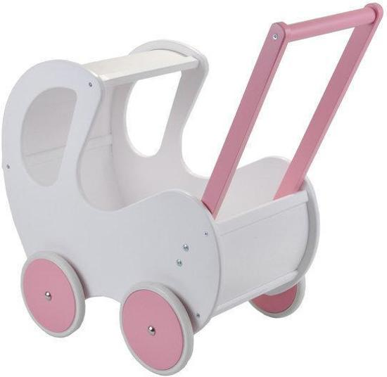 Houten poppenwagen Piccola Signora pink
