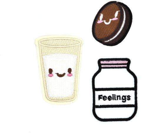 Strijk embleem 'Melk en Oreo patch set (3)' – stof & strijk applicatie