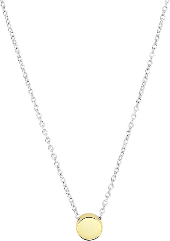 The Fashion Jewelry Collection Ketting Rondje - Zilver Geelgoudverguld - dames - 41cm