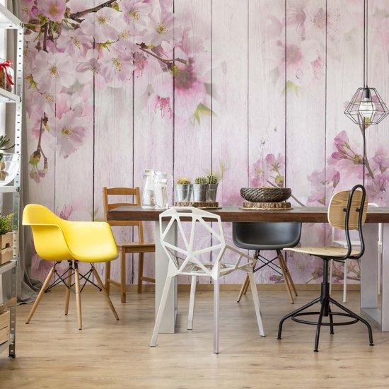 Fotobehang Vintage Chic Cherry Blossom Flowers Wood Planks Pink | V8 - 368cm x 254cm | 130gr/m2 Vlies