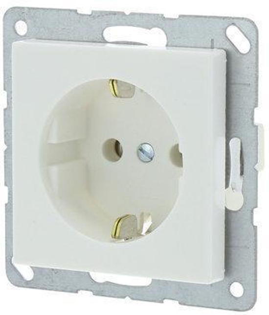 Jung AS500 Inbouw Stopcontact met Randaarde - 1-voudig - Polarwit