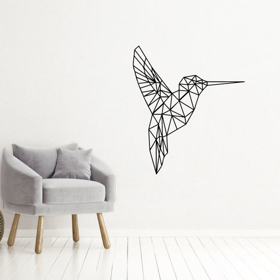 Muursticker Kolibri -  Zwart -  40 x 46 cm  - Muursticker4Sale