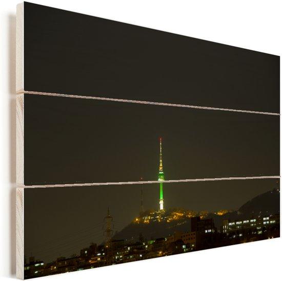 Skyline van het Zuid-Koreaanse Seoul in de nacht Vurenhout met planken 60x40 cm - Foto print op Hout (Wanddecoratie)