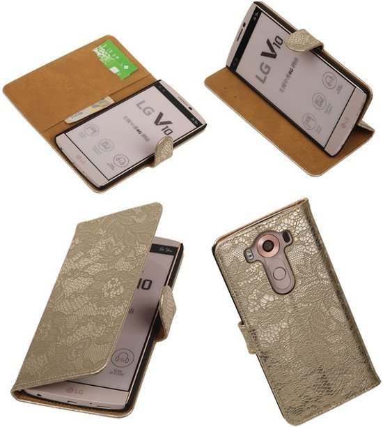LG V10 Goud lace - bloem bookstyle - book case - wallet case - cover hoesje in Nieuweroord