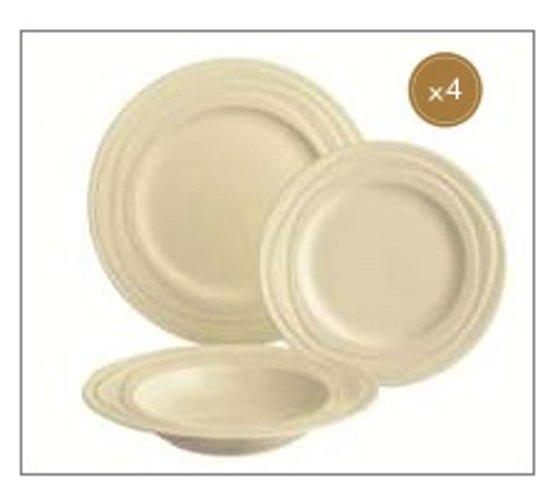 Jamie Oliver Waves - 12-delige serviesset - 4 Persoons Set startset startersset borden: 4x diepe 23 cm, 4x diner 27 cm, 4x ontbijt 21 cm