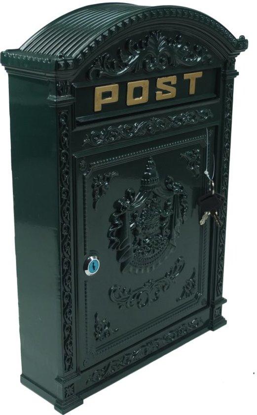 Gietijzeren brievenbus - aluminium - wandbrievenbus - vintage look- 31.5 x 9.5 x 45 cm - groen