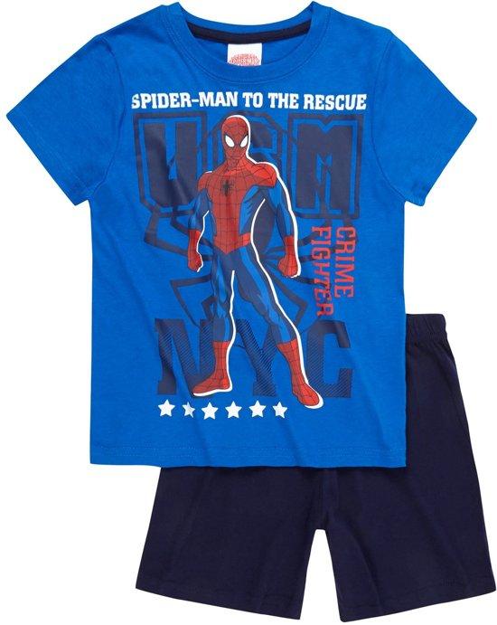 Spider-Man-Pyjama-met-korte-mouw-blauw-maat-128