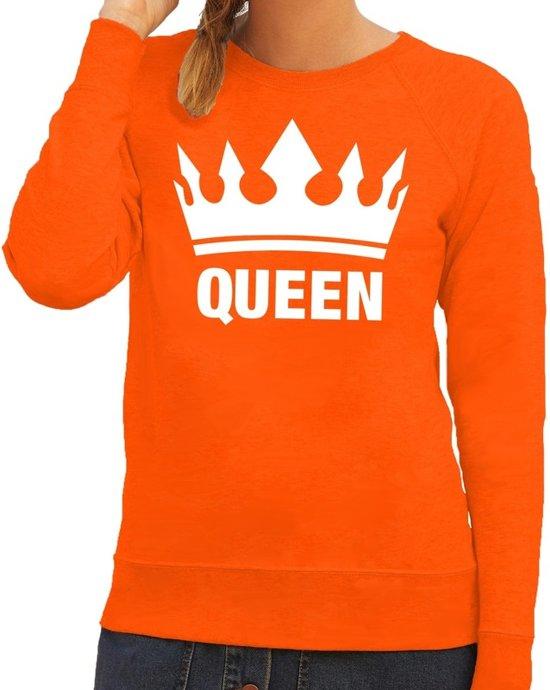 Glitter Trui Dames.Bol Com Oranje Koningsdag Queen Sweater Trui Dames Oranje