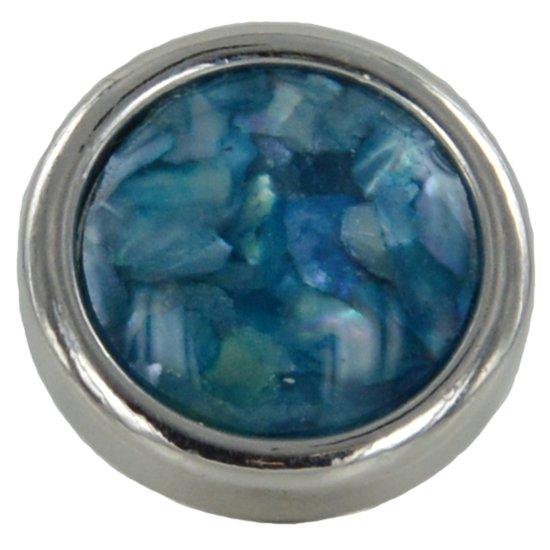Quiges - Verzilverde Aanschuif Charm Bedel Kunstparel Blauw voor Quiges Wikkelarmbanden - EHC207