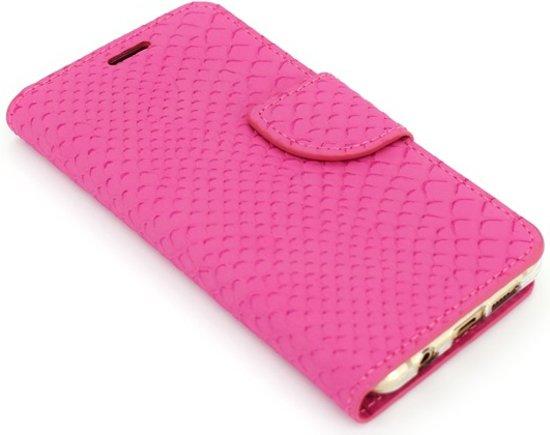 Xssive Hoesje voor Samsung Galaxy S3 Mini i8190 i8200 Boek Hoesje Book Case Pink Schubben Print in Rosoux-Crenwick