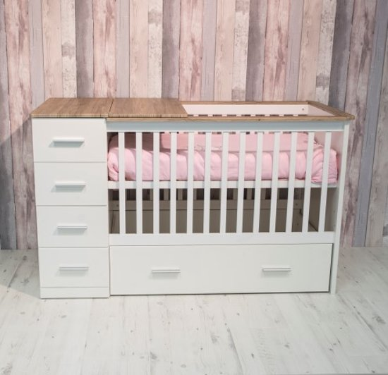 Bebies First Sandy - Ledikant 60x120 cm + Commode - Wit/Grijs