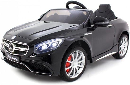 Mercedes S63 AMG Zwart - Elektrische kinderauto (12V) / accuvoertuig met Mp3 + Afstandsbediening | Lederen zitting | Rubberen banden