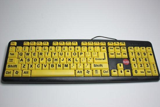 Grootletter toetsenbord geel/zwart