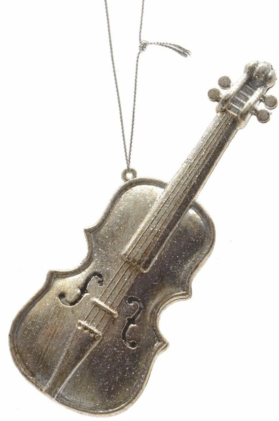 Kerstversiering - viooltje kerstboomhanger muziekinstrument 13 cm zilver - kersthanger