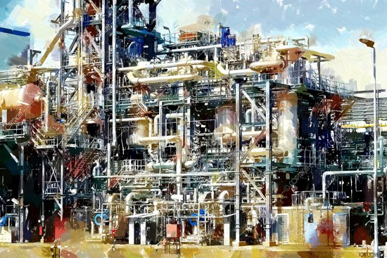 Olieraffinaderij in Nederland, Rotterdam | industrieel, staal, abstract, modern, sfeer | Foto schilderij print industrieel op canvas | 60x40cm