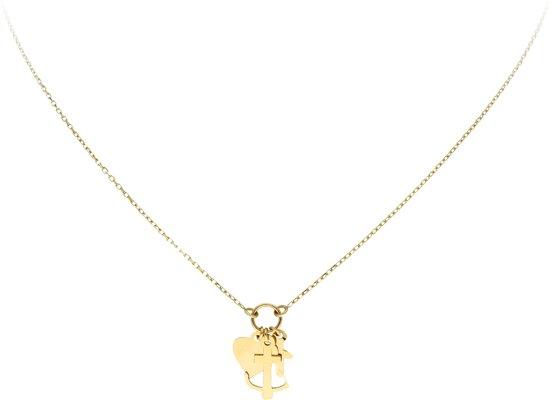 Glow ketting geloof, hoop, liefde - goud (14kt)- 40+3cm