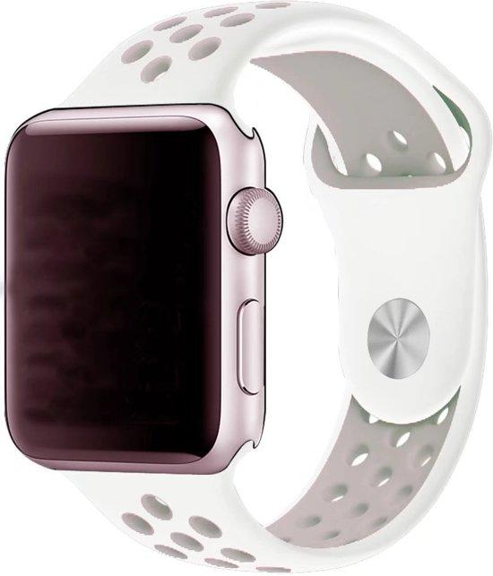 Rubberen sport bandje voor de Apple Watch 42mm S/M - Wit Lavendel in Amougies