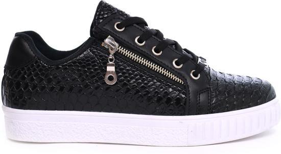 In Lage Dames Met Sneakers Slangenprint Zwart Rits wqXFHZx