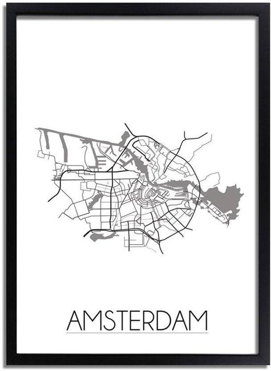 DesignClaud Amsterdam Plattegrond poster A3 + Fotolijst zwart